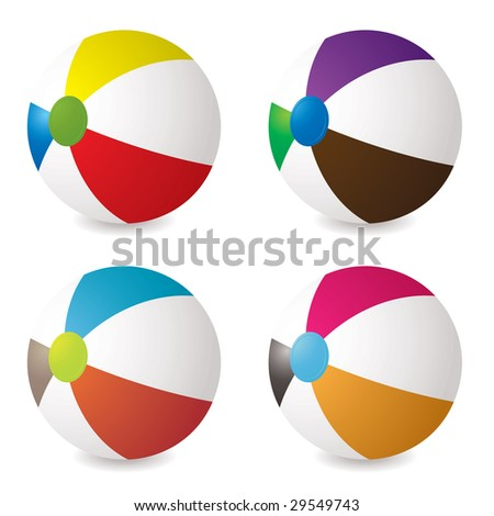 collection of beach balls with modern colours and shadow - stock vector