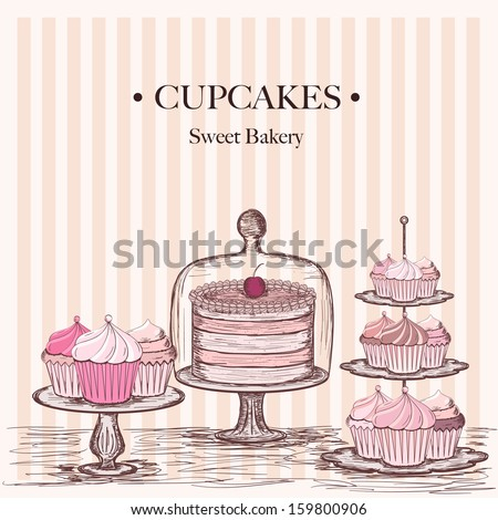 collection of beautiful cakes and cupcakes - stock vector