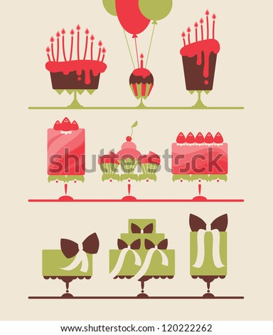 collection of beautiful cakes and cupcakes for wedding, birthday or party vector eps 10 - stock vector