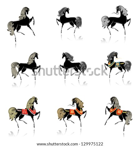 collection of beautiful decorative horses for your design - stock vector