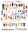 collection of beautiful fashion and clothing hanging on mannequin as display. - stock vector