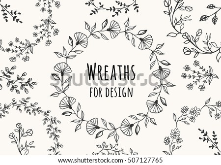 Collection Of Beautiful Flower Wreaths Vector Isolated