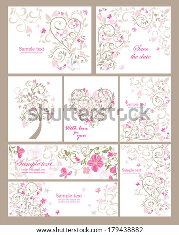 Collection of beautiful greetings - stock vector