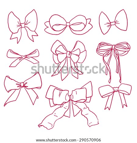 Collection of beautiful hand drawn contour magenta bows and ribbons in vector - stock vector