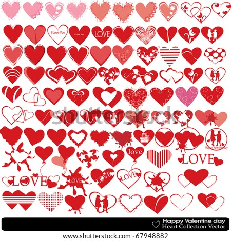 Collection of beautiful hearts of the different form with different design elements a wide choice