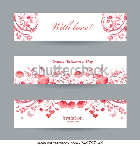 Collection of beautiful romantic banners. pink flowers - stock vector