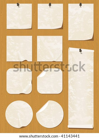 Collection of beige notes and stickers on a wooden texture. - stock vector