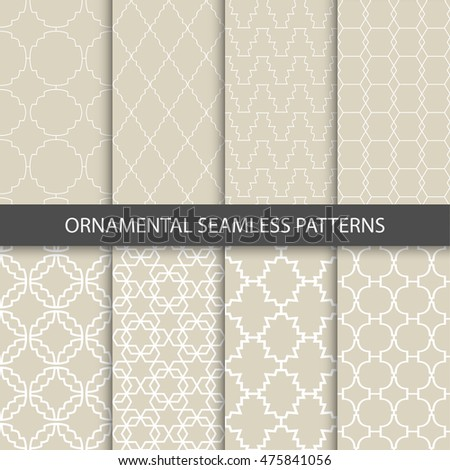 Collection of beige ornamental patterns. Vector seamless patterns for your design and ideas.