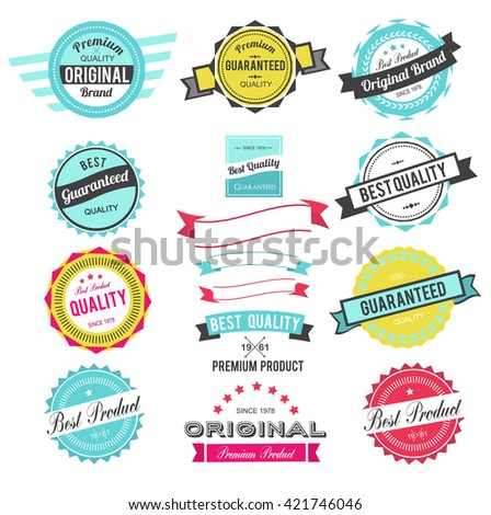 Collection of Best Quality Labels and Ribbons with retro vintage styled design - stock vector