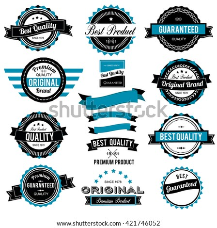 Collection of Best Quality Labels and Ribbons with retro vintage styled design