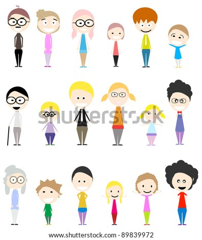 collection of big happy family with their respective characters - stock vector