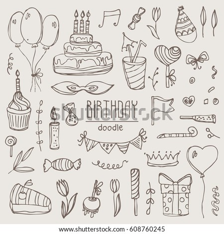 Collection Birthday Elements Symbols Birthday Cake Stock Photo