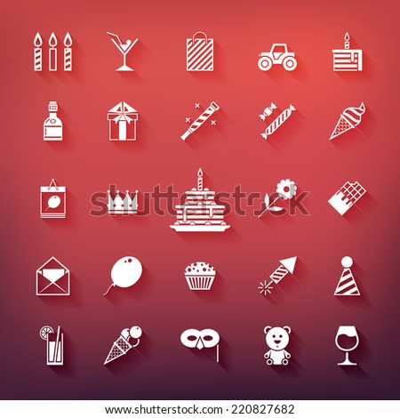 Collection of birthday, jubilee, holiday, celebrating party icons. White silhouettes with shadows isolated on colored background. - stock vector