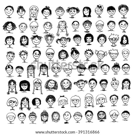 Collection of black and white hand drawn kids' faces - stock vector