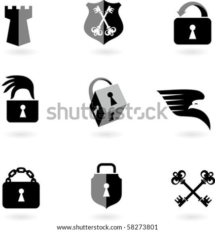 Collection of black and white security icons - stock vector