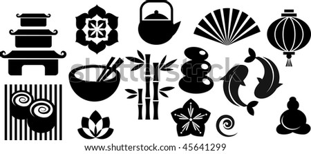 Collection of black and white Zen icons - vector illustration - stock vector