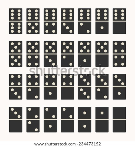 Collection of black color 28 domino set with white spots ; twenty-eight tiles dominoes. realistic graphic design, vector art image illustration, isolated on white background, eps10 - stock vector