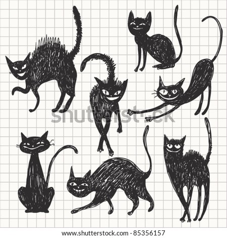 Collection of black Halloween Cats - stock vector
