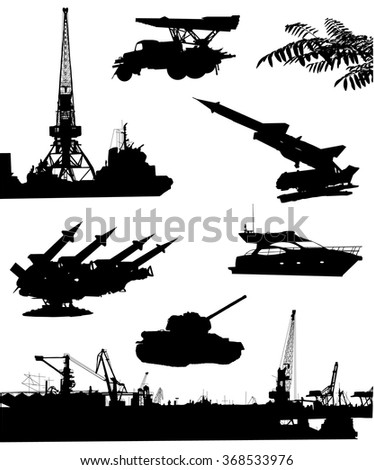 Collection of black silhouettes. Military equipment and installations on a white background. - stock vector