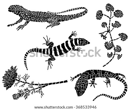 Collection of black tattoos. Lizards and flowers on a white background. - stock vector