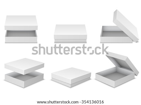 Collection of blank boxes isolated on white background - stock vector