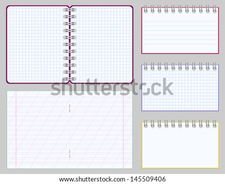 Collection of blank copybooks and notepads - stock vector