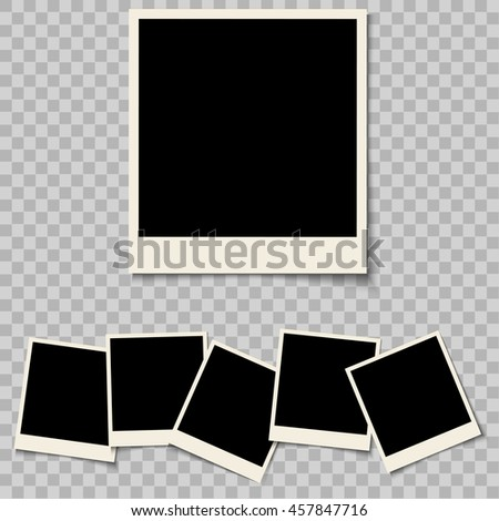 Collection of blank photo frames isolated on a background. Retro photo frames with shadow and empty space for your photograph. Vector set