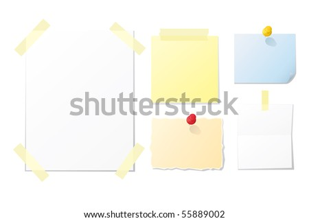 Collection of blank vector notes and papers for your design - stock vector