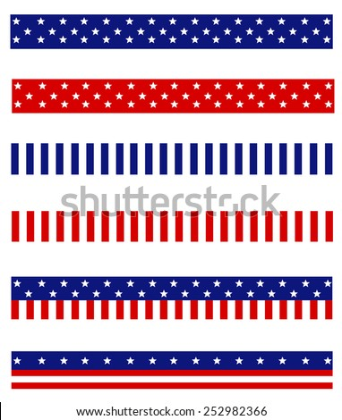 Collection of Blue and red patriotic stars and stripes background frames / page dividers - stock vector