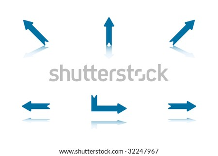 Collection of Blue Arrows With Reflections on Bottom Plane