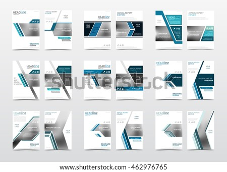 Collection Blue Brochure Templates Annual Report Stock Vector
