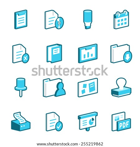 Collection of blue office vector icons. - stock vector