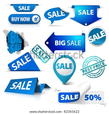 Collection of blue sale tickets, labels, stamps, stickers, corners, tags on white background