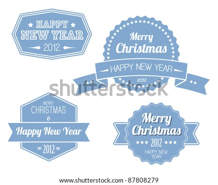 Collection of blue vintage retro Christmas labels with white lettering