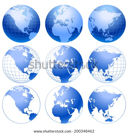 Collection of blue world globes. - stock vector