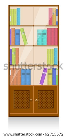 Collection of books in a wooden bookshelf. Vector EPS8 - stock vector