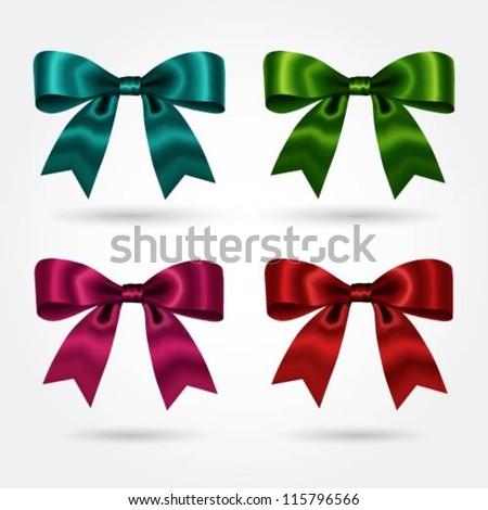 Collection of bows in various colors - stock vector