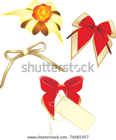 Collection of bows isolated on the white. Vector - stock vector