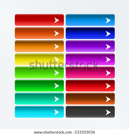 Collection of bright colorful web buttons with arrow in color combination - stock vector