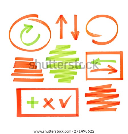 Collection of bright red highlighter drawn arrows, frames strokes and other elements - stock vector