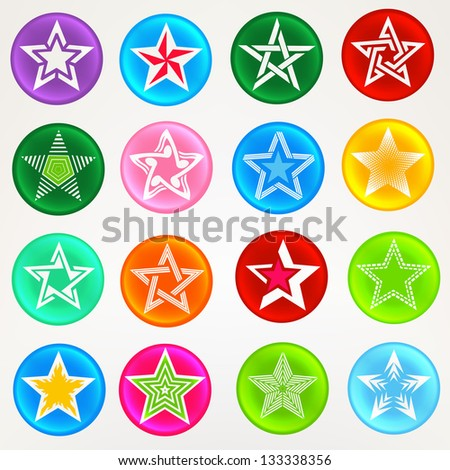 Collection of bright round glossy badges with star surface ornament, eps10 vector set of elements - stock vector