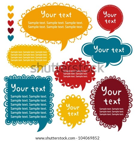 Collection of bright tweet frames. Perfect for adding your own text. - stock vector