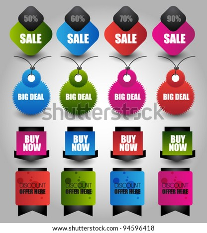 collection of bright web label/sticker/badges and tags vector
