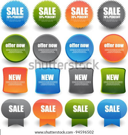 collection of bright web label/sticker/badges and tags vector - stock vector