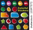 Collection of brightly colored, glossy stickers set. You can add your own  text on stickers. - stock vector