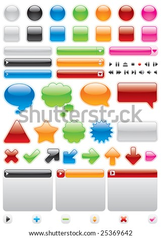 Collection of brightly colored, glossy web elements - stock vector