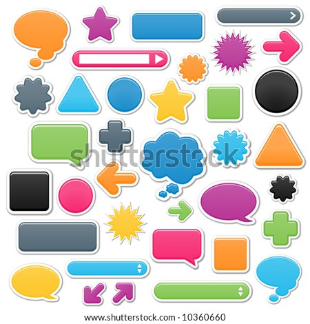 Collection of brightly colored, smooth web elements including: arrows, search bars, speech and thought bubbles. Perfect for adding your own text or icons. Blends used to create drop shadow effect. - stock vector