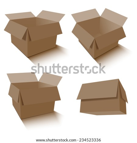 Collection of brown box packaging. vector illustration - stock vector