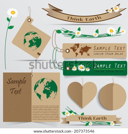 collection of brown recycle paper work elements for green earth concept, vector illustration - stock vector