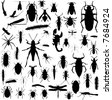 Collection of bug silhouettes in black and white - stock vector